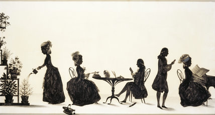 Large silhouette group by Francois Torond (1742-1812), in the Drawing Room at A la Ronde