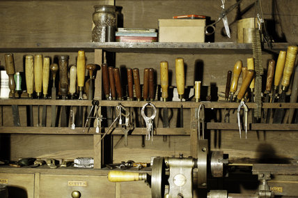Row of tools in the workshop in the Priest's House at Snowshill Manor