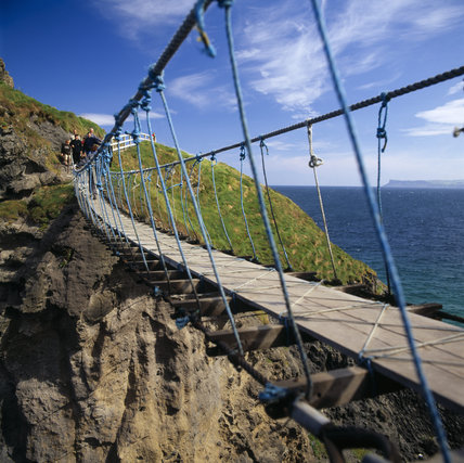 Carrick-a-Rede is a separate island off of the North Antrim Coastal Walk