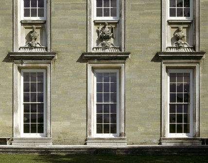 Detail of the west front of Petworth House showing a detail of the south end
