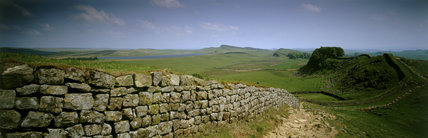 Panoramic view of the Wall leading away from Cuddy's Crags to Housesteads Crags