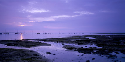 A panoramic view of the Blakeney Point landscape at sunset