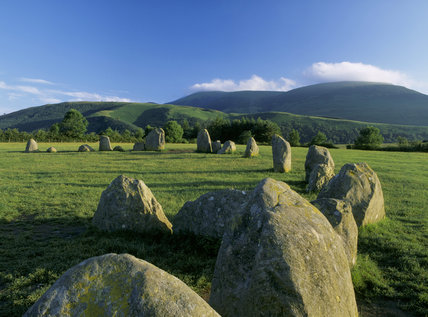 Castlerigg stone circle with some stones in foreground, Lake District