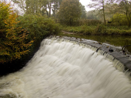 The weir in the River Bollin at Quarry Bank Mill, Styal