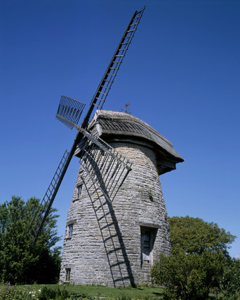 View of last thatched windmill in England, High Ham, dating from 1820