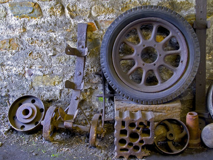 Wheels waiting for repair at Finch Foundry