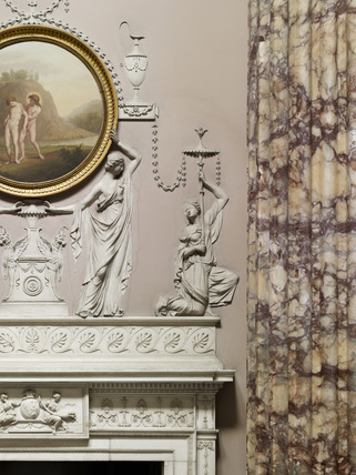 Plasterwork fireplace and column in the Marble Hall at Kedleston Hall