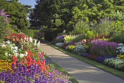 View Of The Two Borders In The Wall Garden At Nymans, West Sussex In High  Summer