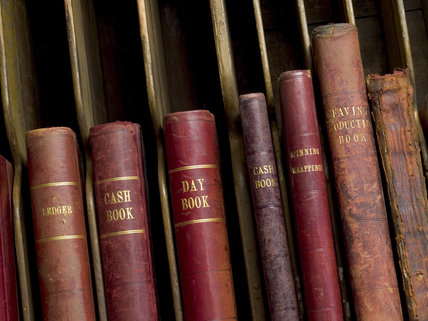 Close view of the cash books and ledgers in the Manager's Office at Quarry Bank Mill, Styal, a cotton-spinning mill established in 1784