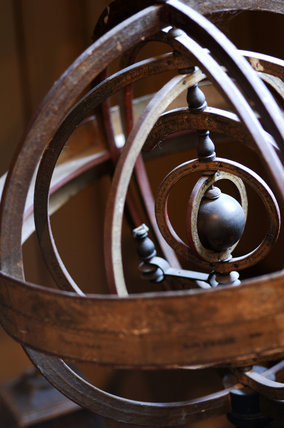 Detail of an armillary heliocentric sphere, French, 1810-1820, in the room known as Admiral at Snowshill Manor