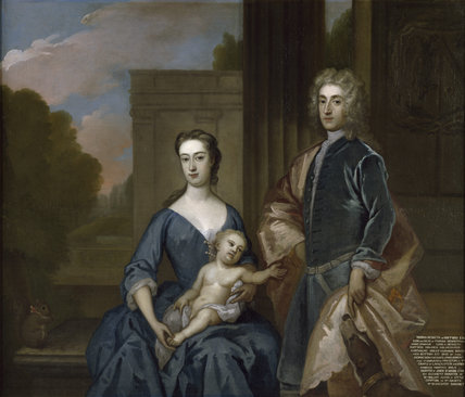 PORTRAIT OF THOMAS HESKETH (1698-1735) WITH HIS WIFE AND SON, about 1729, by Sir Godfrey Kneller (1646-1723) at Rufford Old Hall