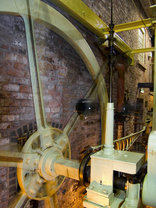 The Beam Engine (similar to the model introduced to the mill in 1836) at Quarry Bank Mill, Styal