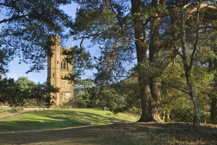 Leith Hill Tower, an C18th Gothic structure, built at the highest point of south-east England at Dorking, Surrey