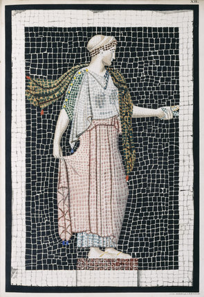 Illustration of a mosaic from Peintures Antiques Inetites (Paris 1836) by M. Raoul-Rochette in the library collection at Calke Abbey, Derbyshire