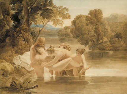`HYLAS RESCUED FROM THE RIVER BY THE NYMPHS' (31), by Joshua Cristall, (1767-1847)  in the East Anteroom at Attingham Park
