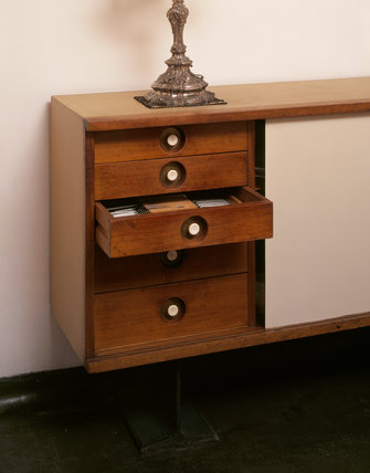Detail of the sideboard in the Dining Room at 2 Willow Road, designed by Erno Goldfinger