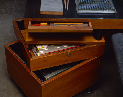 Detail of the pivoting drawers on the desk in the Studio at 2 Willow Road