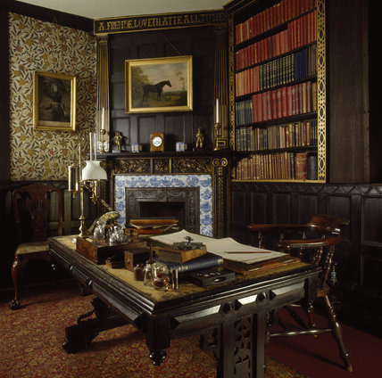 The interior of the Library at Speke Hall with its