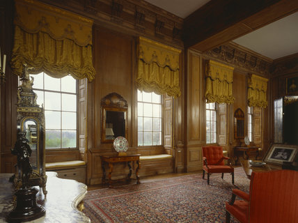 The Drawing Room, Beningbrough, looking towards the pairs of English walnut pier-tables & pier-glasses with `seaweed' marquetry