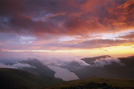 A magnificent sunset over Wastwater, looking from Wasdale Head
