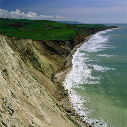Looking south east to Compton Bay in West Wight with its steep cliffs to the beach below