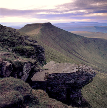 Brecon Beacons; Corn Du seen from the summit of Pen Y Fan with the Black mountains in the far distance