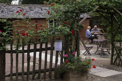 The terrace at The Old Apple Store Tea Shop at Warren Farm on The Brockhampton Estate