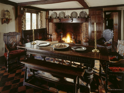 View Of The Fireplace And 400 Year Old Dining Table In Entrance Hall Which Also Served As Kitchen Room At Moseley