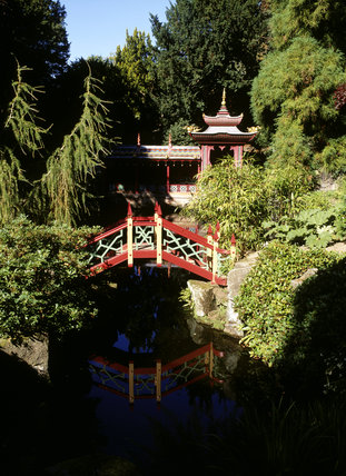 The Chinese Temple and wooden footbridge in part of the garden at Biddulph which evokes a magical Victorian vision of China one of its famous range of 'national' gardens