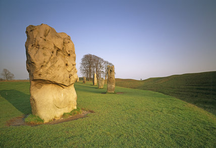 Close-up of some of the stones of Avebury Circle, Wiltshire, dating from 3000 to 2000 BC