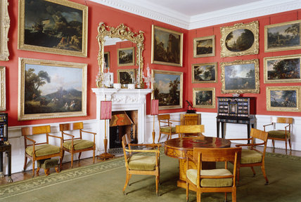 Room view from the north east corner of the Cabinet Room showing the marble chimneypiece, table and armchairs