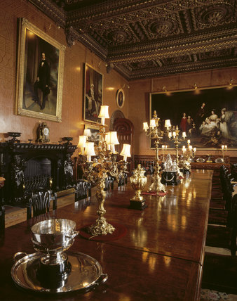 The Dining Room at Penrhyn Castle with the highly polished table at its centre