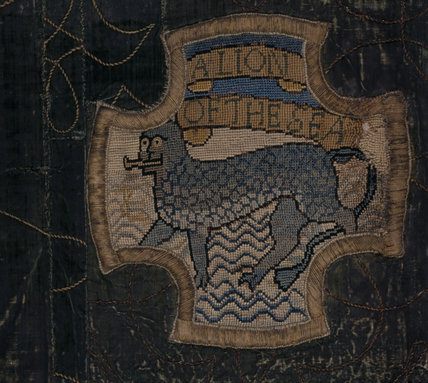 A motif from the Marian Needlework at Oxburgh Hall showing 'A Lion of the Sea'