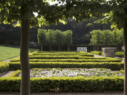Looking along the length of the parterre at Clandon Park, outlined by box hedges & a line of hornbeams in the background