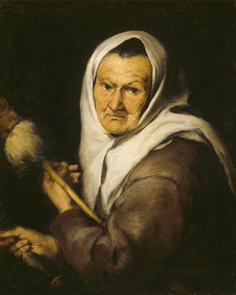 OLD WOMAN WITH DISTAFF by Murillo (1617-1682) at Stourhead