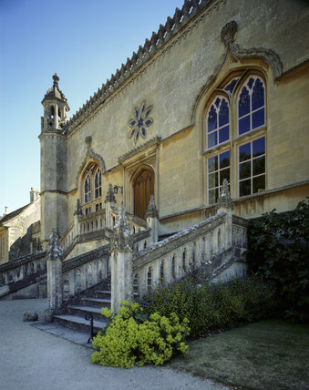 The Gothick stone steps on the west front of the Abbey