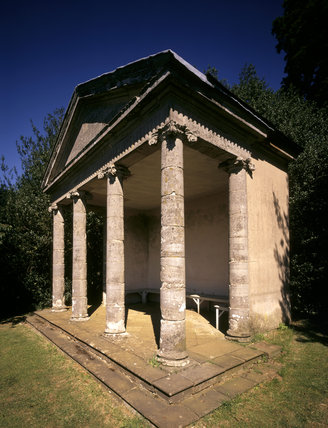The Ionic Temple, the first building to be encountered on the Terrace, has a pediment supported by four Ionic columns and a loggia behind