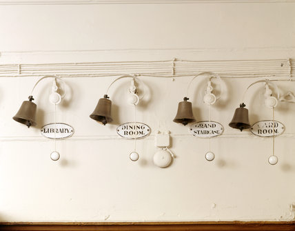 The bells in the Servants' Area. The bells were each of a different size so that the experienced staff could tell by the tone of the bell which room was ringing.
