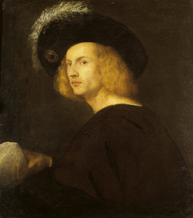 MAN IN A BLACK PLUMED HAT by Titian (c1487-1576) An early, but somewhat abraded, work