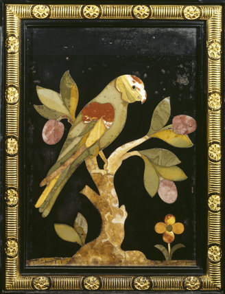 Detail of smaller pietra dura cabinet in the Drawing Room depicting a parot on a tree