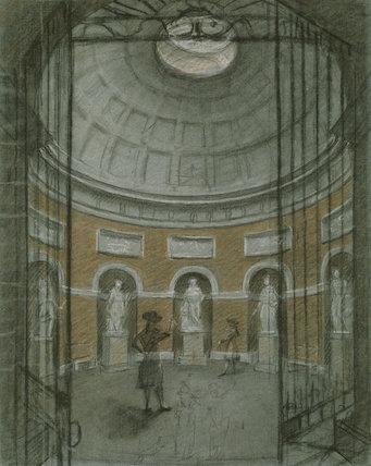 THE INTERIOR OF THE PANTHEON AT STOURHEAD sketch by Sammel Woodforde 1784