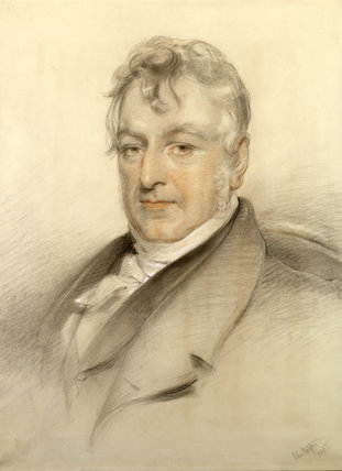 REV RICHARD NOEL-HILL, 4TH LORD BERWICK (1774-1848) by John Hayter in the Drawing Room at Attingham Park, 1847, chalk