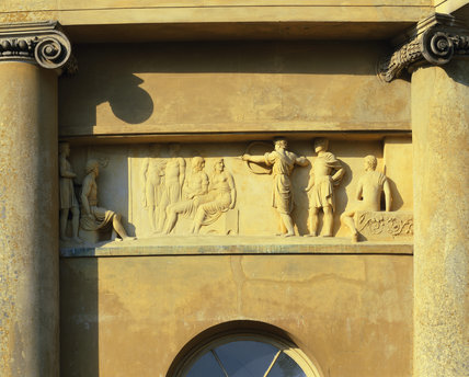 Detail of a section of the Rotunda frieze that depicts the ancient Olympic Games, taken from above the entrance at Ickworth