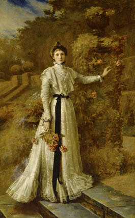 PORTRAIT OF MRS JULIUS DREWE IN THE GARDEN AT WADHURST, 1902 by C M Hardie (1858-1916)