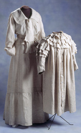 View of two plain coloured Linen Dresses at Springhill