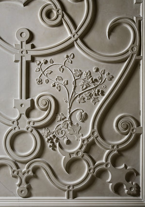Detail of the plasterwork ceiling in the Study in the new house at Scotney Castle, Kent
