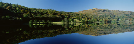 Flat calm in morning light on Grasmere, Lake District, Cumbria