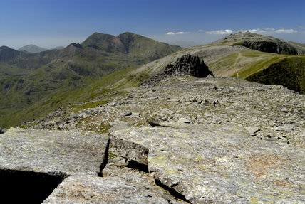 A view from the Glyders (National Trust) to Y Garn (National Trust) and Snowdon, Wales