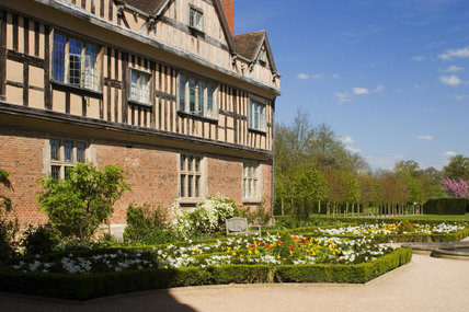 A view of the sixteenth-century North Range, built mostly as lodgings for guests, and part of the Courtyard at Coughton Court, Warwickshire