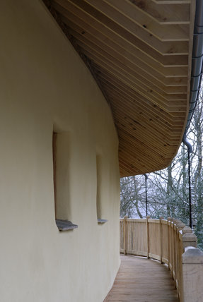 A view of the wall and wooden underside of the roof of The Footprint - a green education base/classroom at St Catherine's, Windermere, Cumbria